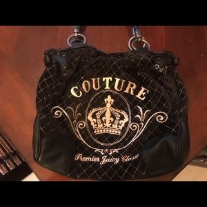 Juicy Couture Black Velvet Shoulder Bag